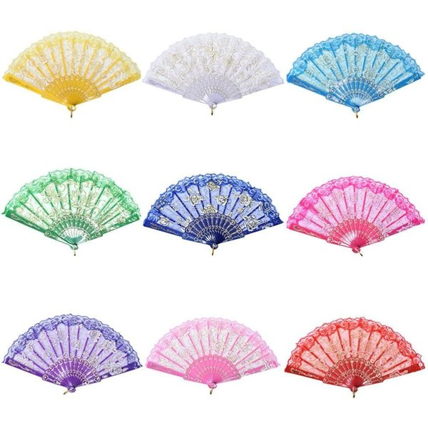 DHL 50pcs/lot Spanish style rose flower design plastic frame lace silk hand fan, Chinese craft folding fan