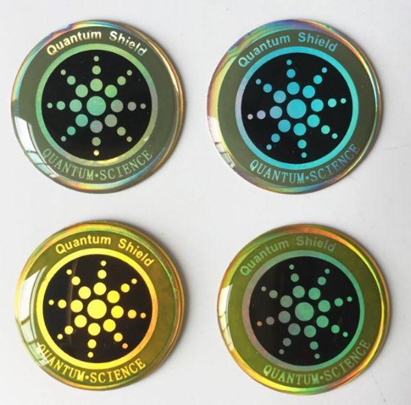Autocollant rond de téléphone portable doré avec bouclier anti-rayonnement ionique négatif Téléphone d'énergie de santé Tags Bouclier quantique