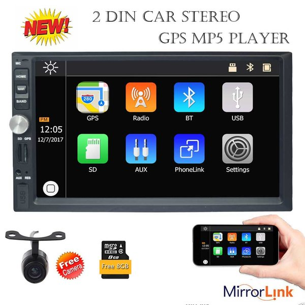 Eincar 7'' Double Din Car Stereo Bluetooth GPS Navigation MP5 Player Radio Mirror Link USB 1080P Video Play AUX FM AM SWC camera
