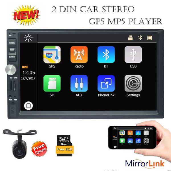 Eincar 7 '' Çift Din Araba Stereo Bluetooth GPS Navigasyon MP5 Çalar Radyo Ayna Bağlantı USB 1080 P Video Oynat AUX FM AM SWC kamera