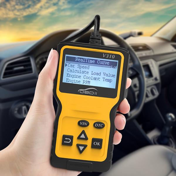 top popular Portable V310 OBDII Automotive Car Diagnostic Scanner Tool CAN OBD2 Code Scanner Reader V1.1 English French Spanish Deutsch 2019