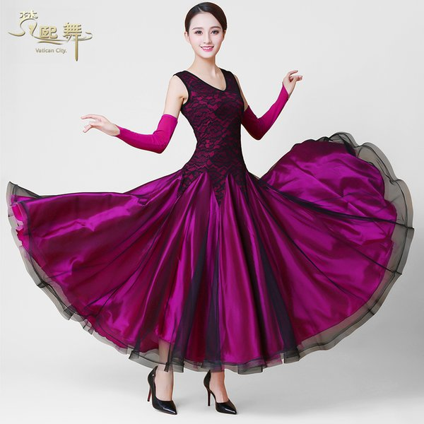 Lady Customized Ballroom Dance Dress Girls Dancing Competition Suit Women Tango Flamenco Waltz Dancing Customes V Neck D-0380