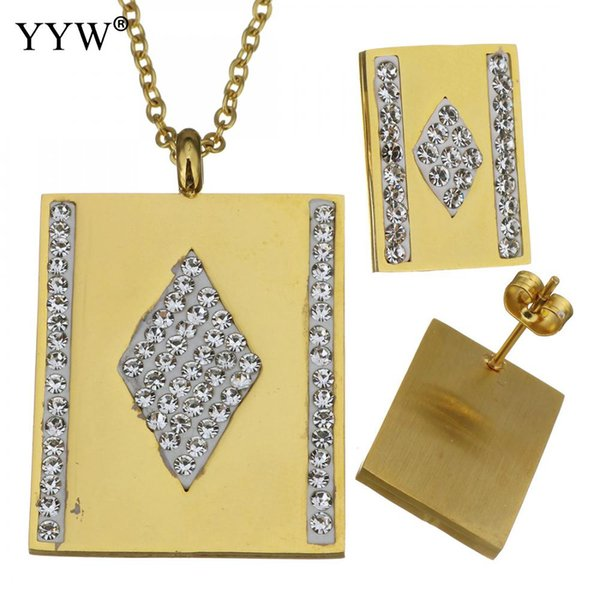 Choker Necklace Rhinestone & Stainless Steel Gold Color Jewelry Set Rectangle Stud Earrings For Women Girl Wedding Jewelry Gift