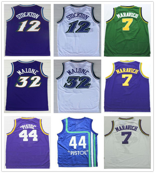 quality design 8c1af e0126 2018 Stitched 32 Karl Malone Jersey Vintage Purple White 12 John Stockton  44 Pistol Pete Maravich Jerseys Blue Green Basketball Jerseys From ...