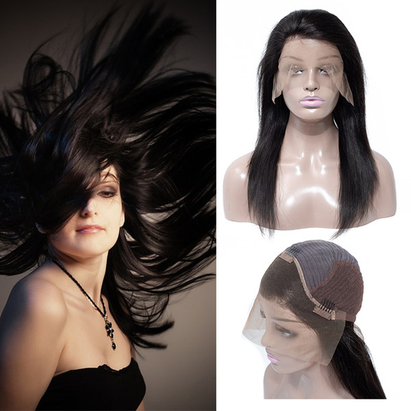 البرازيلي مستقيم الرباط الجبهة الباروكات غير المجهزة الرباط الجبهة الباروكة مستقيم للأميركيين الأفارقة 130 ٪ الكثافة اللون الطبيعي شعر الإنسان الباروكات