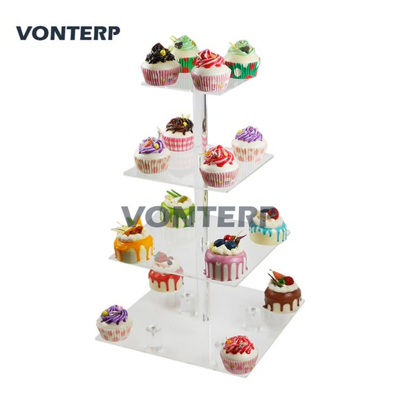 "VONTERP 1 PC Transparent square 4 Tier Acrylic cake Stand/Acrylic cake holder with base 4 Tier Square(6"" between 2 layers)"