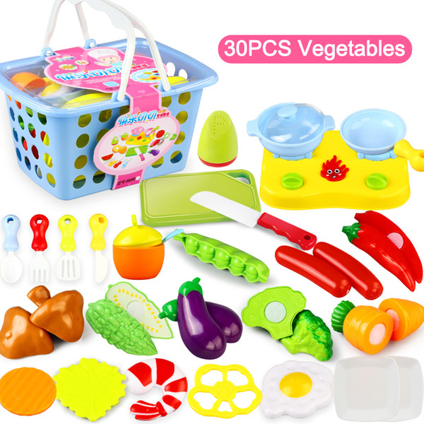 top popular 30PCS Children Kitchen Pretend Play Toys Cutting Fruit Vegetable Food Miniature Play Do House Education Toy Gift for Girl Kid 2021