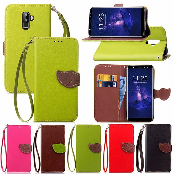 Caso de telefone para Leagoo M9 PU capa de couro Folha Flip Card Holder Dinheiro Alça de mão removível
