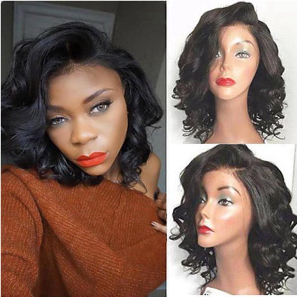 100% Human Hair Full Lace Deep Wave Wigs Glueless Short Bob Wavy Wig Front Lace Virgin Hair Wigs for Women African Amerimen Wigs