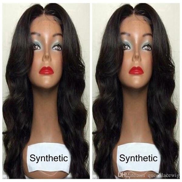 Perruque de corps en dentelle synthétique avant vague longue perruque noire ondulée pas cher avec des cheveux de bébé pour les femmes afro-américaines