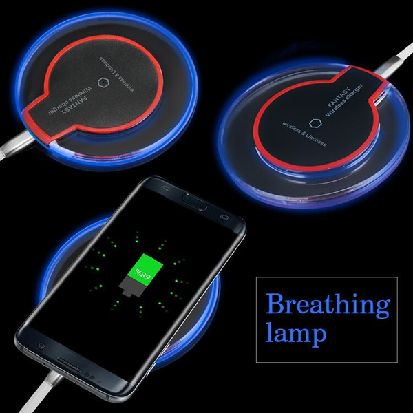 Qi Wireless Charger for iPhone 11 XS Max XR Samsung Galaxy S10 Note10 Crystal LED Light Mini Fast Charging Pad With Charging Cable