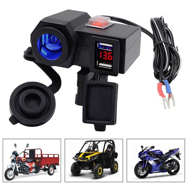 Caricabatteria da auto Dual USB per moto con caricabatteria da 4.2A Voltmetro Caricabatteria da moto per moto USB Caricabatterie Voltmetro