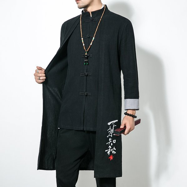 large size 5xl pure color male long jackets chinese style embroidery trench men cotton and linen fabric loose coats