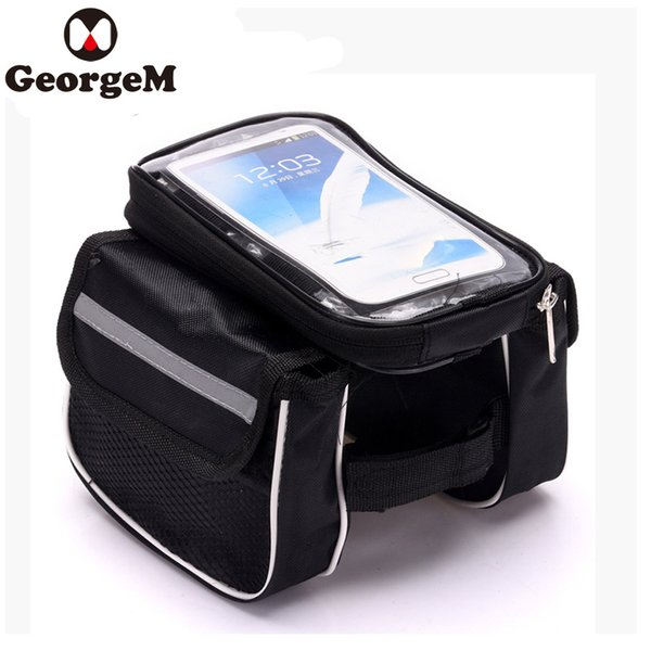 Touch Screen 5inch Bike Handlebar Phone Case Phone Holder Bag Bicycle Bags Front Frame Tube Storage Bike Pack Cellphone Bag