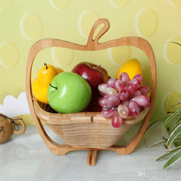 купить оптом мода деревянные овощные корзины с ручкой яблоко форма фруктовые корзины Handhold Skep практичный простой стиль один цвет 16ad Ii отsd003
