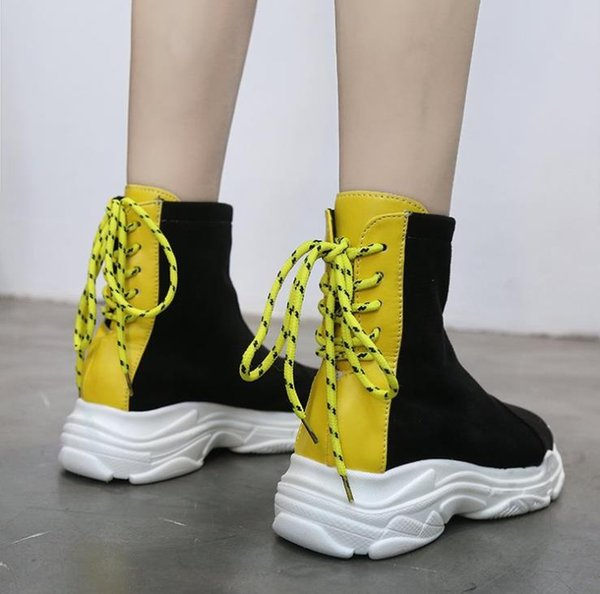 Thick-bottom Martin boots 2018 autumn and winter new wild increase in the tube short boots retro high-top women's shoes
