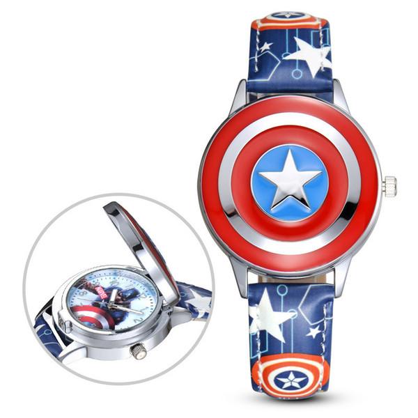 Çocuk Karikatür Kaptan Amerika Kalkanı İzle boys çocuklar kuvars kol saati stokta Serin marvel öğrencileri fan hediye saatler