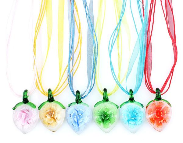 QianBei 6pcs / lot en gros multicolore au sein de la fleur coeur pendentif en verre colliers à la main artisanat bijoux accessoire