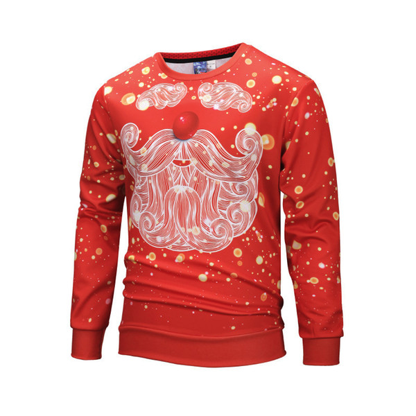 Funny 3D Print Christmas Santa Claus Pullovers Men Red Sweatshirt without Hood 2019 New Year Polyester 3d Hoodie Male Clothing