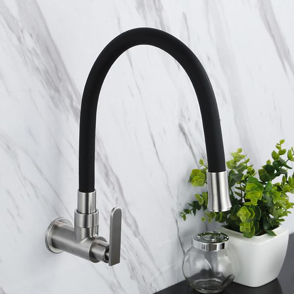 Wand Montiert hochwertigen edelstahl bad küche Flexible Drehbare Auslauf Waschbecken Wasserhahn Einzigen Kaltwasserhahn, Gebürstet