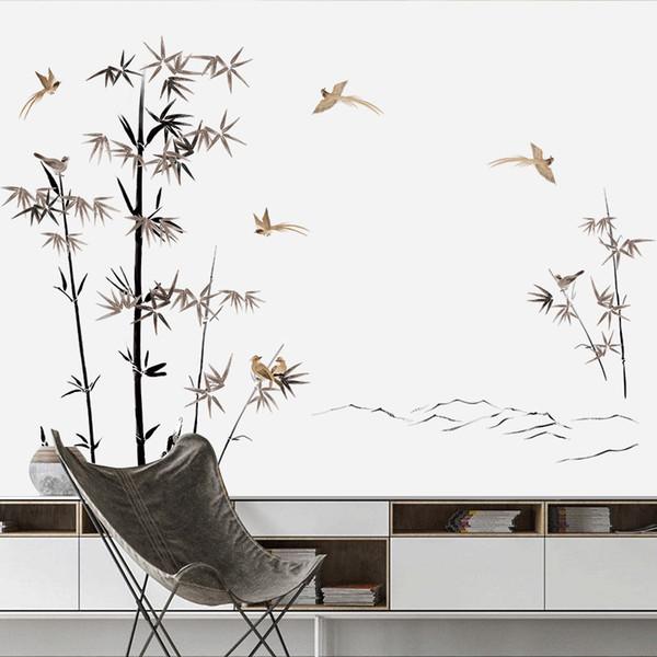Estilo chino de bambú Vintage Poster vinilo pegatinas de pared salón dormitorio árbol decoración del hogar tatuajes Wallpaper Y18102209