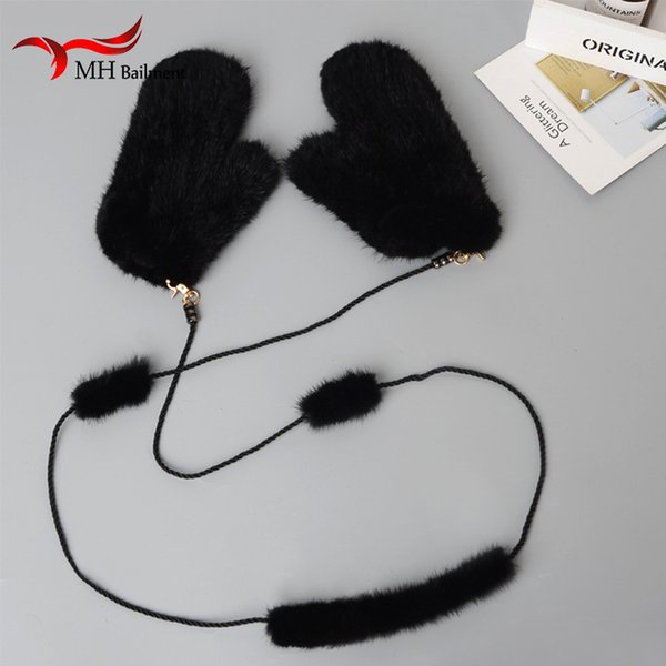 Winter Women Real  Gloves Lovely Ladies Genuine  Gloves Lady Warm and Soft Knitted Gift