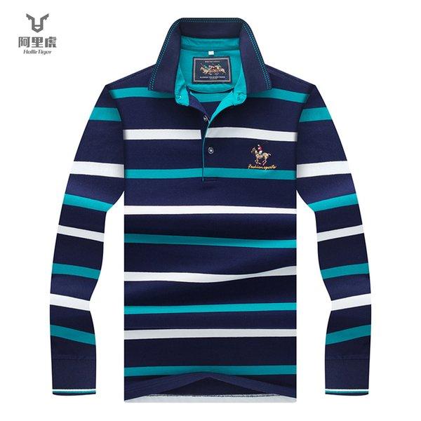 Hollirtiger Casual Outono camisas dos homens de negócios de manga longa  camisa de moda masculina listrada 7758bf3d0ab4c