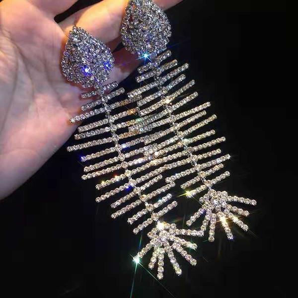L'oro Persnality Sfilata di moda orecchini Whte placcato strass Fish Bone Orecchini per ragazze le donne per la festa nuziale Nizza regalo