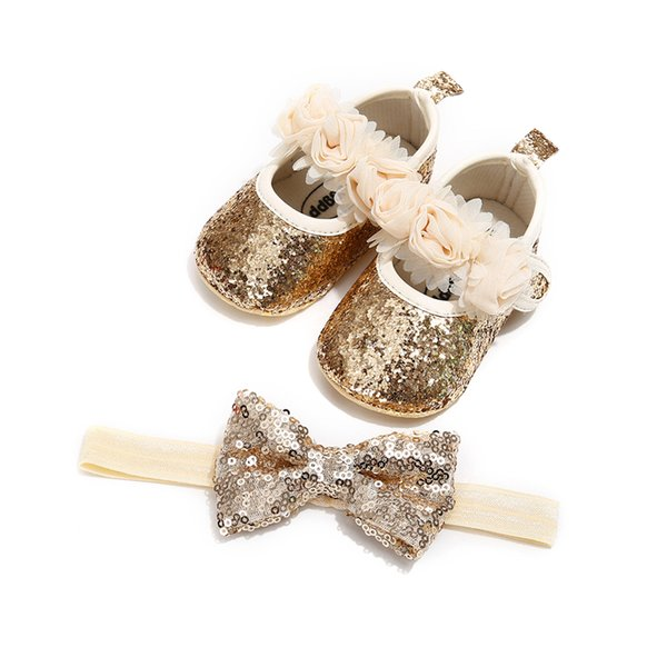 Baby Girls Flower Bling Shoes with Elastic Bow Headband Gift Set for Anniversary Party Infant Baby Girls Princess Shoes