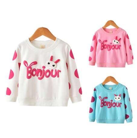 A camisola fina da Menina Primavera Roupas Jaqueta Assentamento Camisa Do Bebê Meninas Moletom Crianças Manga Longa Tops Menina camisas de T Kdis Hoodies