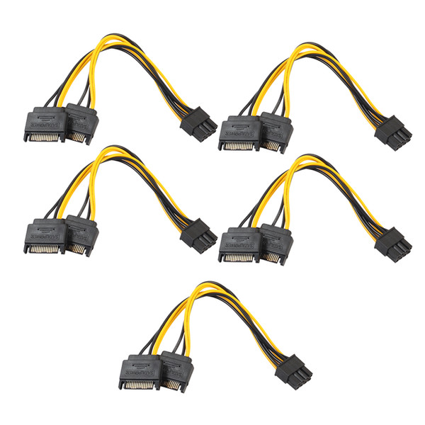 Hot Sale 5pcs Dual 15Pin SATA Male To PCIe 8Pin(6+2) Male Video Card Power Cable Connector Power Supply