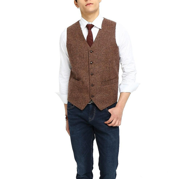 2018 Cheap Brown Tweed Vest Wool Herringbone Groom Vests Men's Suit Vests Slim Fit Mens Wedding Waistcoat