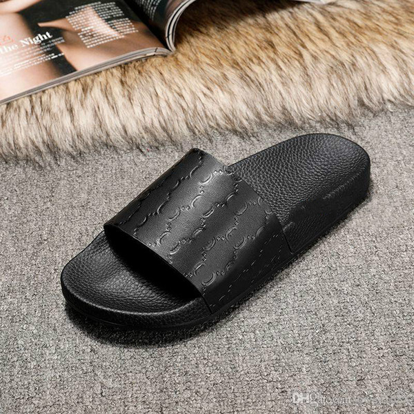 new arrival 2017 mens and womens fashion Signature leather slide sandals slippers summer outdoor beach flip flops