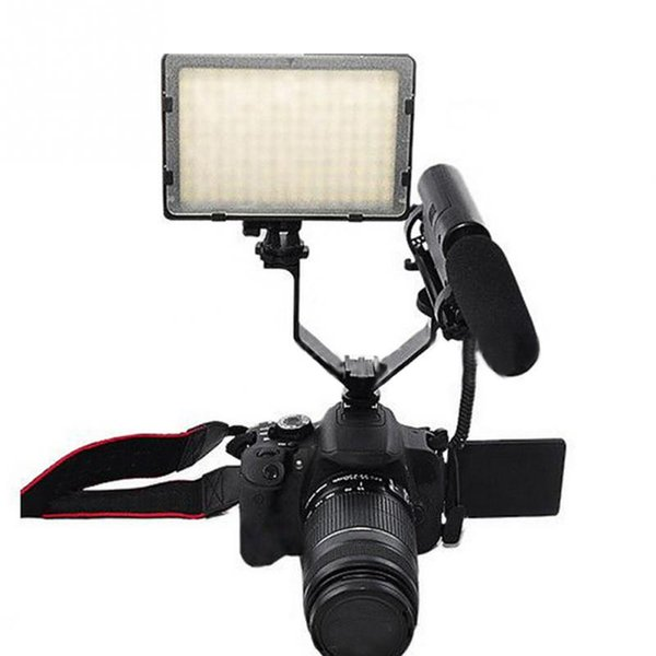 Camera DSLR Triple Mount Hot Shoe V-shape Mount Bracket Aluminum for LED Video Lights Microphones