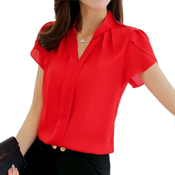 2018 Women Shirt Chiffon Blusas Femininas Tops Short Sleeve Elegant Ladies Formal Office Blouse Plus Size Chiffon Shirt clothing