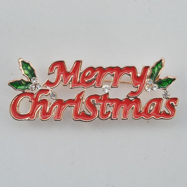 Bribeauty Enamel Merry Christmas Brooch Pin Exquisite words Red Green Brooch