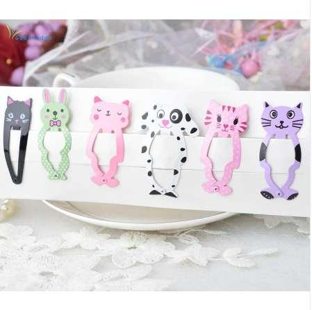 6PCS/Lot New Little Girl Cute Cartoon Animal Barrettes Kid Headwear Hair Clip Children Gift Hair Accessories Snap Clips Hairpins