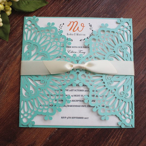 Elegant Lace Light Blue Wedding Invitation Cards Country Flower Laser Cutting Holiday Greeting Cards Multi Colors Homemade Wedding Invitations Indian