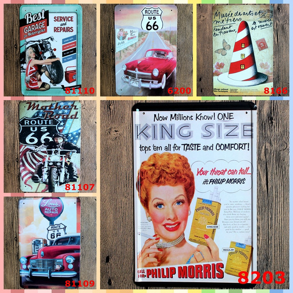 Wholesale ROUTE 66 GAREGE 20*30cm Metal Art Iron Wall Paint Posters Home Decor Tin Signs Graphic Tablet Crafts Supplies Vintage Decor