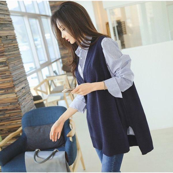 Coréenne Sans Manches Tricoté Gilet Femmes Gilet Printemps Automne Cachemire Pull V Cou Pulls Split Casual Lâche Dress Tops Femme