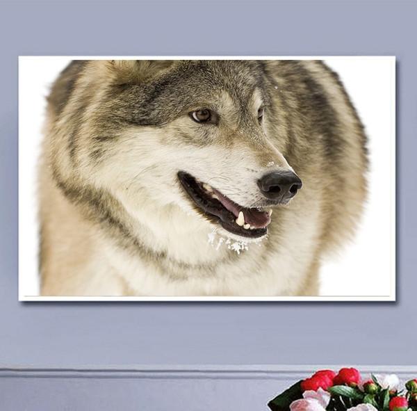 Lobo marrón claro bordado diamante bordado DIY pintura diamante pintura punto de cruz 5D agua diamante pintor decoración sin marco