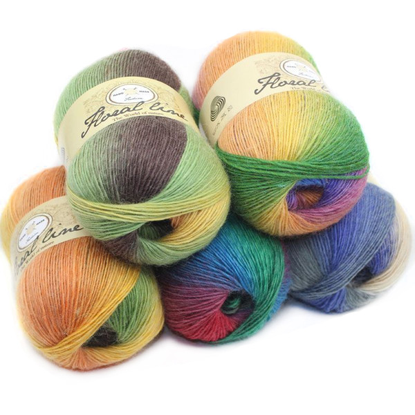 best selling 100g ball 100% Cashmere Yarn knitting Rainbow Line Fancy Melange Yarn Combed Sewing 20 Colors High Quality