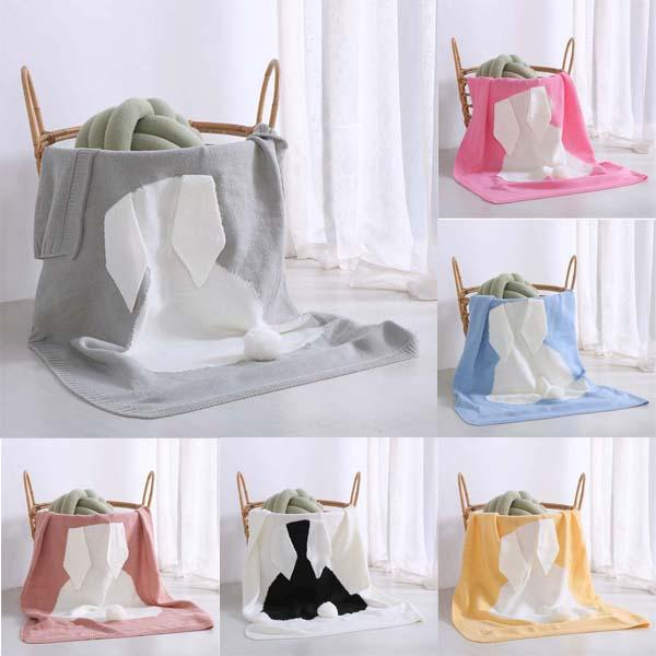Wholesale-7 Colors 70*100cm Baby Blankets INS Rabbit Ear Swaddling Knitted Animal Bedding Toddler Fashion Swaddle Newborn Bunny Blanket