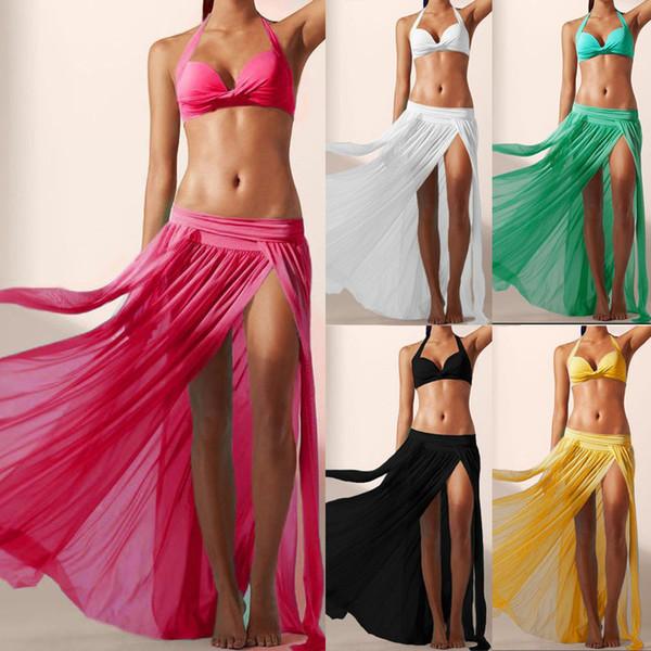 Falda para mujer Sexy Boho gasa alta Split larga falda maxi Playa Falda Femenina # LSJ