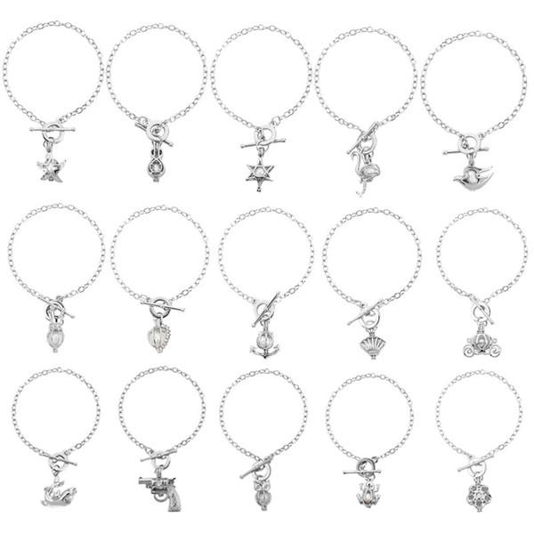Elegant Women Pearl Oyster Charm Bracelets Fashion Silver star frog owl Pearl Cage Pendant Locket Bracelet Jewelry charm