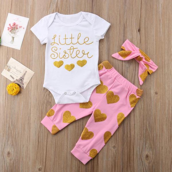 2018 bebé recién nacido infantil trajes corazón encantador mameluco +  pantalones largos de color rosa + diadema ropa 3 piezas dulce verano  conjunto 806c0d20e47