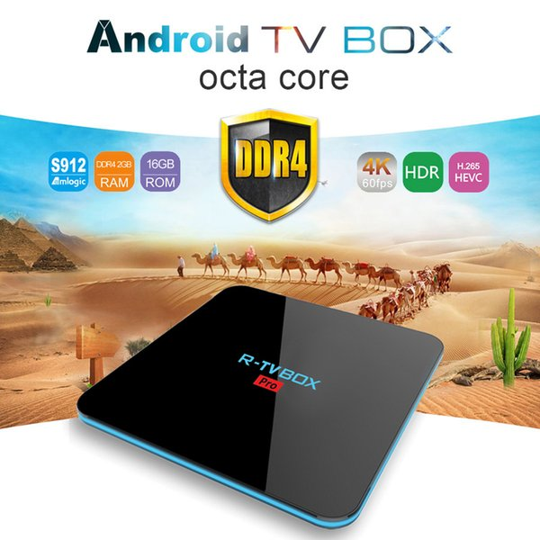2GB DDR4 16GB TV Box Android 7.1 Amlogic S912 Octa Core Smart Mini PC 2.4G/5G Dual Wifi Bluetooth Streaming Media Player R-TV Box Pro Newest