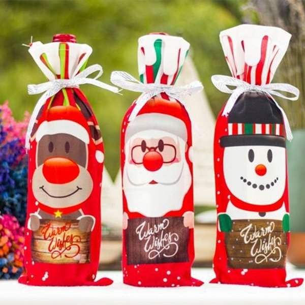 Christmas Decorations Wine Bottle Cover Bags Dustproof Wine Bottle Packaging Christmas Champagne Pouches Christmas Gift Bags 3 Colors YW1586