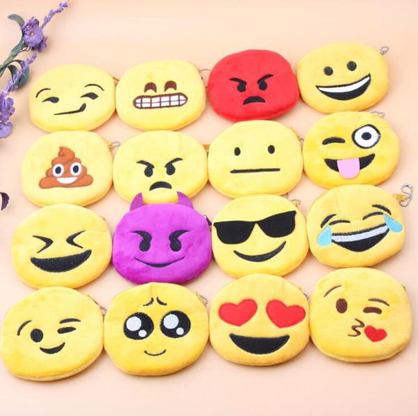 Heißer Verkauf Ausdruck Geldbörsen Niedliche Emoji Münztüte Plüsch Anhänger Hohe Qualität Gestickte Baby Kinder Geldbörse Taschen