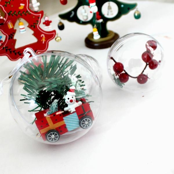 150 unids 5 cm Navidad Tress Decoraciones Bola Transparente Abierto De Plástico Claro Ornamento Decoraciones Para Árboles de Navidad Suministros